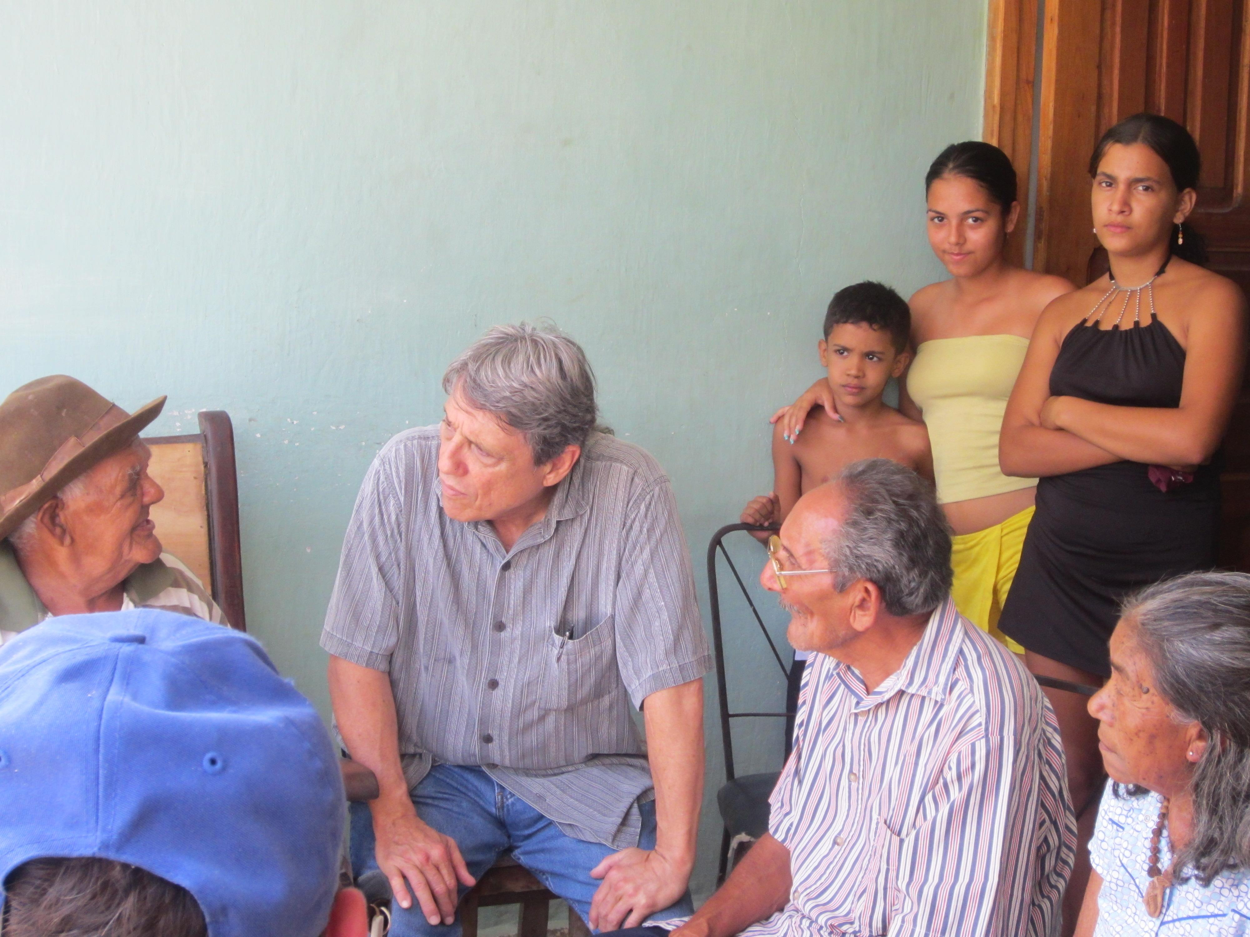 José Barreiro interviewing Cuban Indio curandero (healer), don Pedro Rufo Mengana, El Caney community, eastern Cuba. Credit: Alejandro Hartmann.