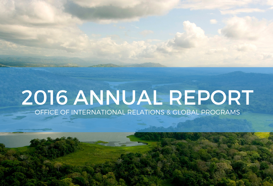 2016 Annual Report Cover Sheet with mountains in the background