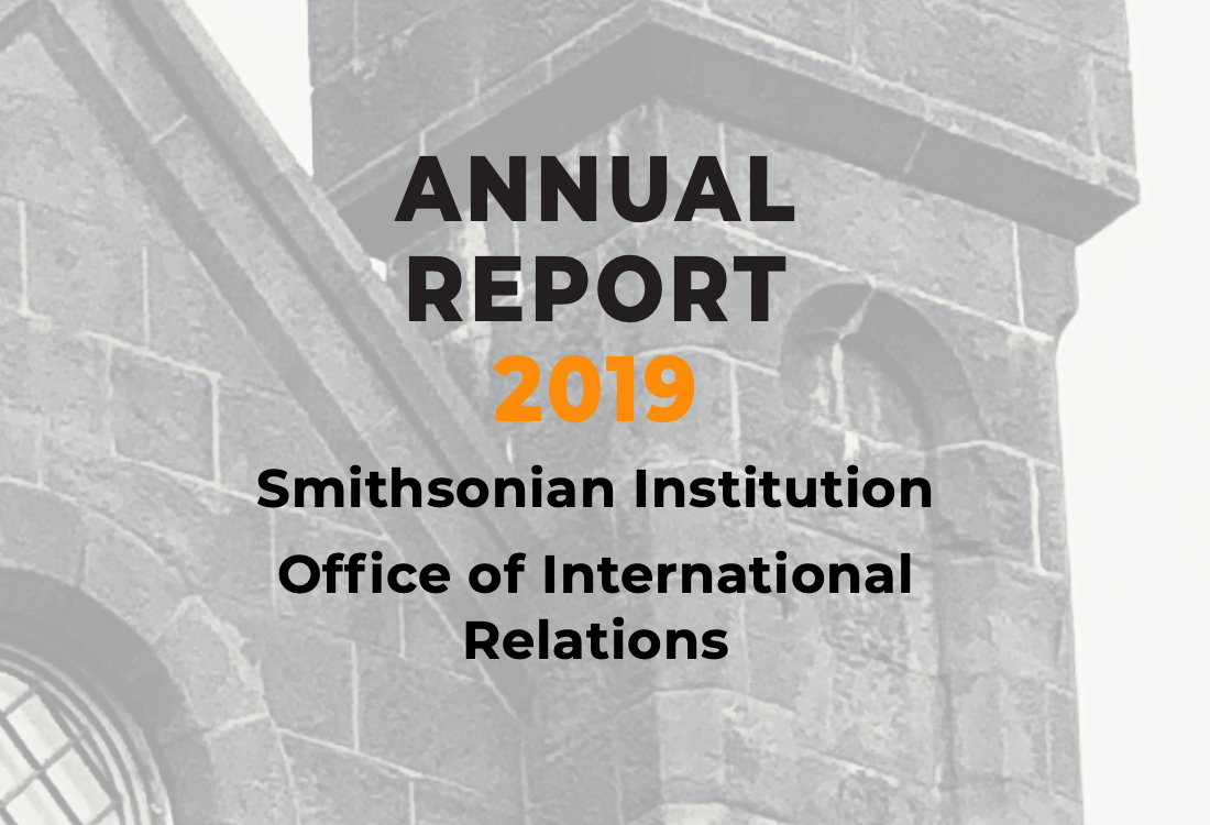 2019 Annual Report with a building in the background
