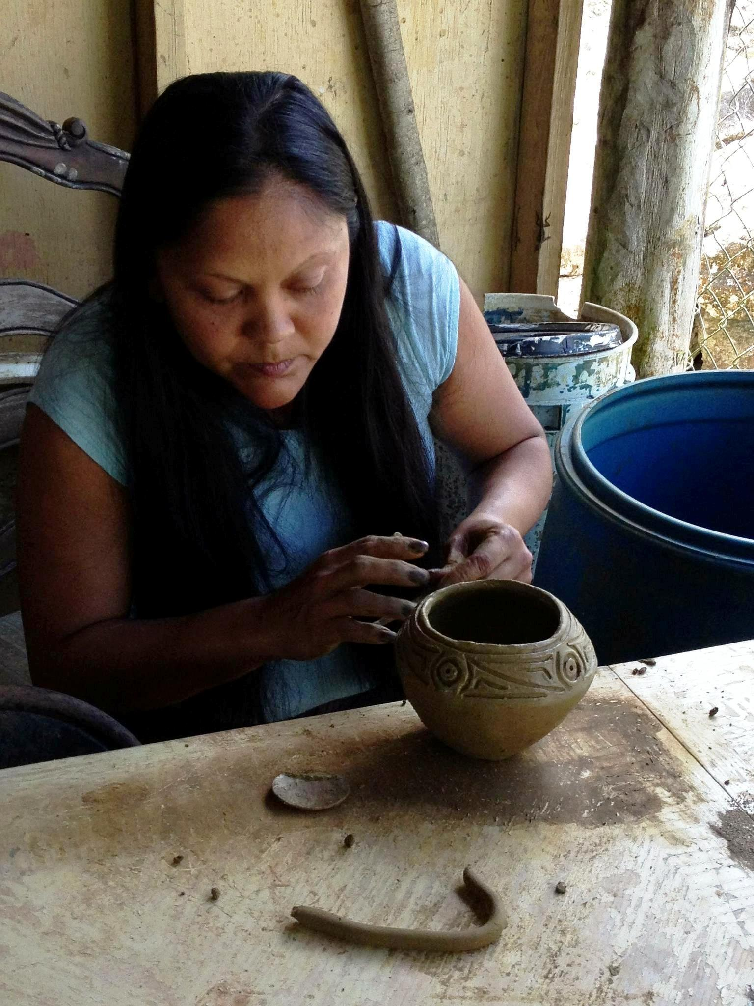 Alice Chéverez is part of a generation of Puerto Rican artisans who have revived Taíno crafts like pottery based on archaeological findings. Photo Credit: Smithsonian Institution.