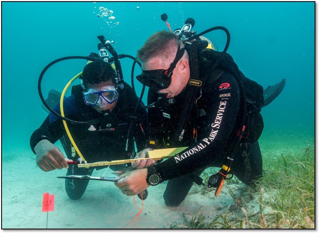 水下资源中心主任戴夫•康林 (Dave Conlin)   在佛罗里达比斯坎国家   公园 (Biscayne Nat.Park) 训练学生。   来源:戴夫•康林。