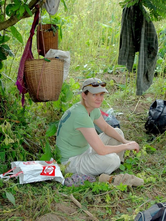 Mel Songer taking a break from tracking a conflict elephant for collaring in the Bago Yoma, Myanmar. Photo courtesy of Christie Sampson.