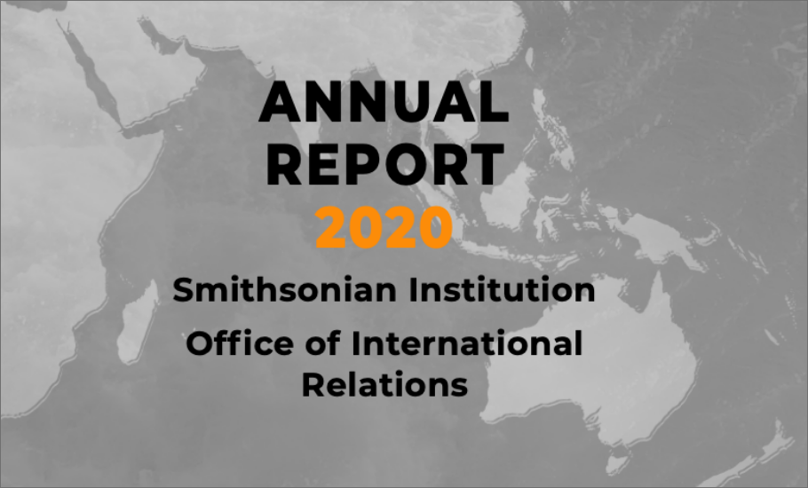 2020 Annual Report over a map of the Indian Ocean