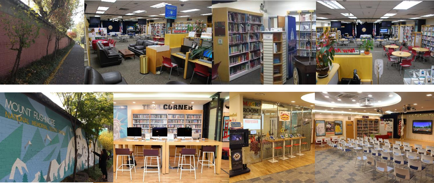 Before (top row) and after (bottom row) of the redesign of American Center Korea in Seoul, Korea. Photo credit: United States Government.