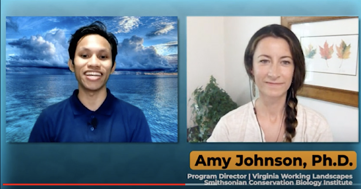 A young man and woman speak in Zoom.