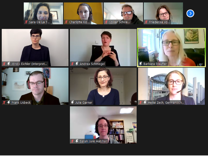 Ten people in squares on a virtual call.