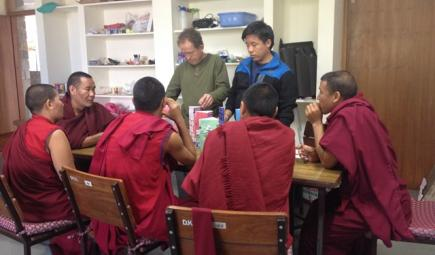 Tibetan monks studying climate change impact with water bottles