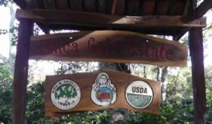 Sign for Gaia coffee farm in Nicaragua with Bird Friendly coffee logo