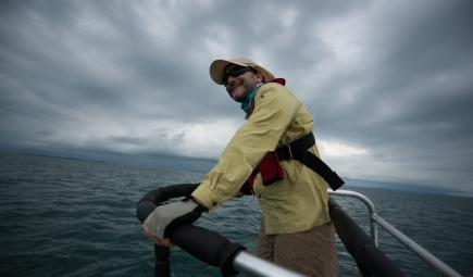 Marine biologist surveying water while tracking humpback whales