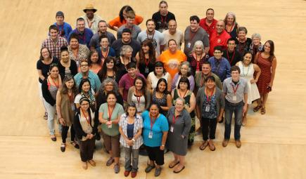 Overhead photo of members of language workshop