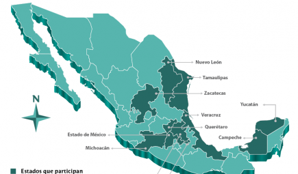 A map of the states in Mexico where the curriculum is being used.