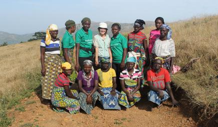 Female survey team members from local Nigerian community pose with researcher
