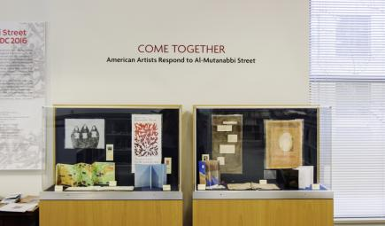"The ""Come Together: American Artists Respond to Al-Mutanabbi Street"" exhibit."