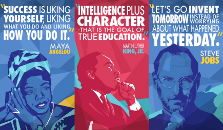 Posters with drawings of influential Americans and quotations