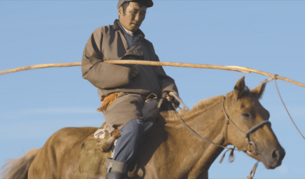 Man riding horse in Mongolia.