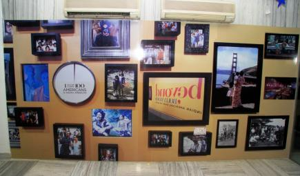 Wall of images at Beyond Bollywood exhibit in New Delhi