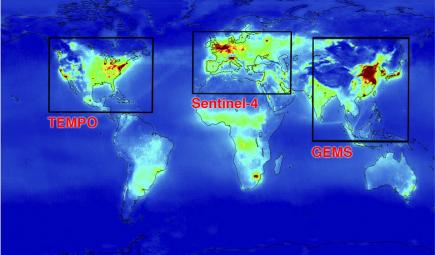 Conceptual map of worldwide satellite systems measuring air pollution