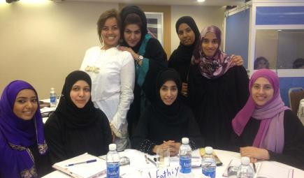 Nicole with some of her students and colleagues in Oman. Photo credit Nicole Shivers.