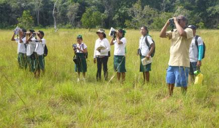 School children on birding field trip.