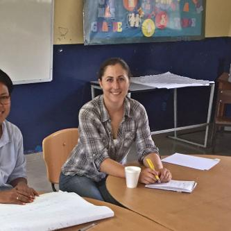 Alicia Entem (r) and Guillermina De Gracia (l) at a focus group session in El Giral, Panama. Photo credit Vic Adamowicz.