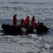 Researchers standing in a launch between ice floes in Antarctica