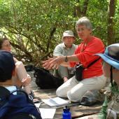 Un écologiste et ses étudiants sur le terrain à Bélize