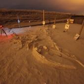 Escaneo láser 3D nocturno de 'La Familia' en Cerro Ballena, en 2011. Fotografía: Instituto Smithsonian