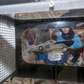Students from Palestine look at model plane exhibit