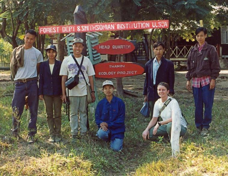 Mel Songer with Thamin Ecology Team members at Samaung Camp, Chatthin Wildlife Sanctuary, Myanmar. Photo credit Mel Songer.