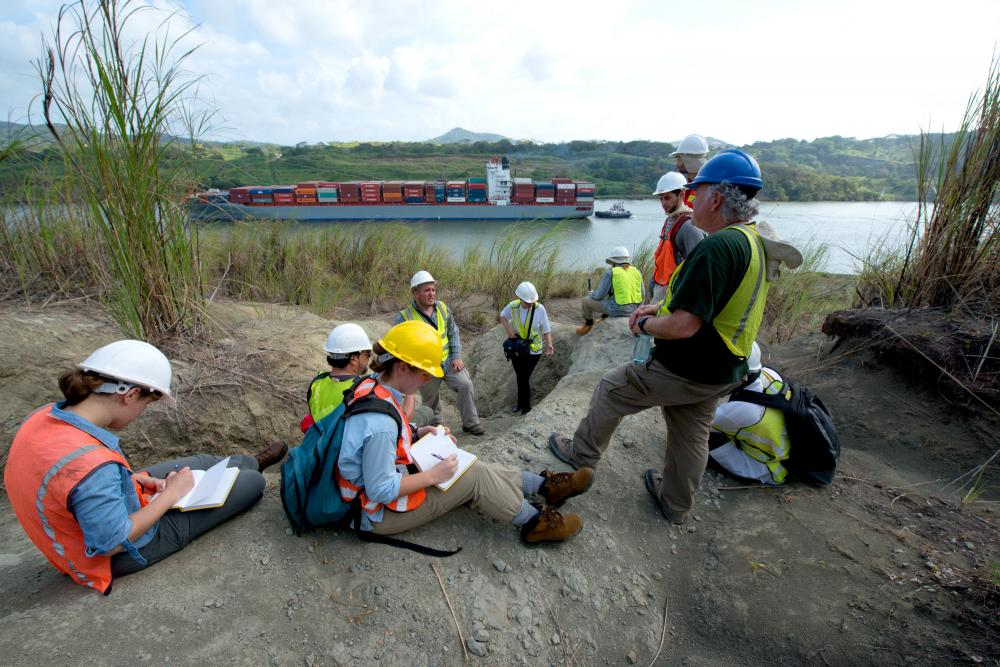 Participants in the Fourth Meeting of the Network for Neotropical Biogeography tour the paleontological excavation sites exposed by the excavation of the Panama Canal. Photo credit Sean Mattson.