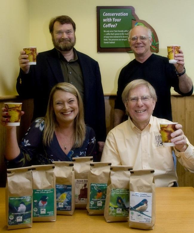 Robert Rice (top, right) with Bird Friendly Golden Valley Farms Coffee Roasters. Photo Credit Smithsonian Migratory Bird Center/NZP.