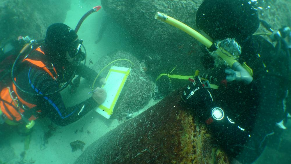 Underwater archaeology researchers on the site of the São José slave ship wreck. Credit: Iziko Museums