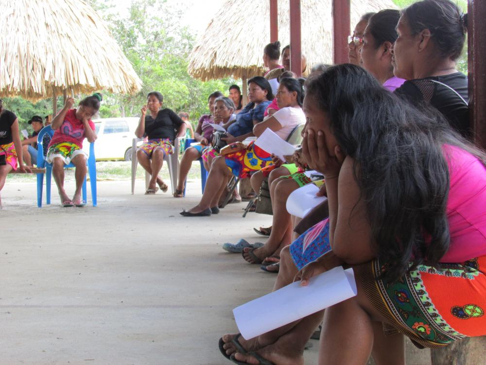 Emberá women at a land use planning meeting led by Mateo-Vega